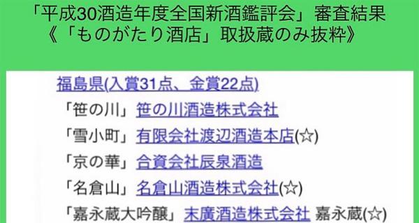 「平成30酒造年度全国新酒鑑評会」審査結果(ものがたり酒店取扱蔵のみ抜粋)(サムネイル)